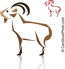 Vector image of an goat on white background