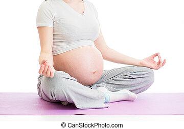embarazada, mujer, Sentado, yoga, loto, posición