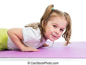 kid girl pushing up