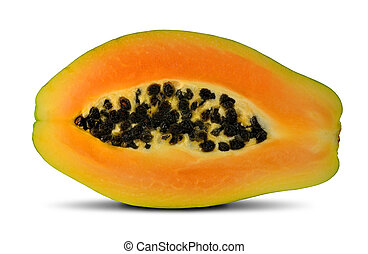 exotic fruit papaya isolated on white