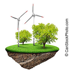 Little island with wind turbines and trees isolated on white...