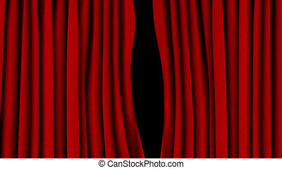 Red curtain opening Alpha channel