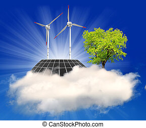 solar panel and wind turbine on the cloud