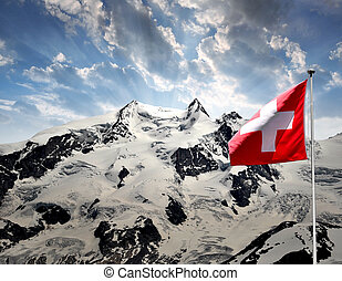 Monte Rosa - Beautiful mountain Monte Rosa with Swiss flag -...