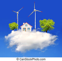 house with wind turbines on the cloud