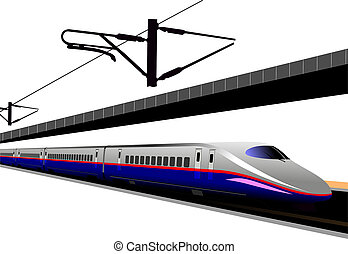Shinkansen bullet train. Vector illustration