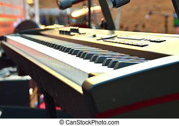 electronic piano keyboard keys closeup in black and white
