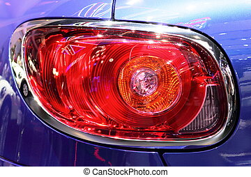 blue car rear tail lights - A photo taken on a blue car rear...