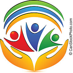 Teamwork hands and connections logo vector