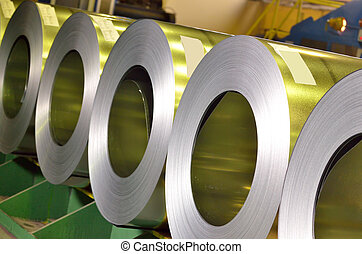 rolls of steel sheet inside of plant
