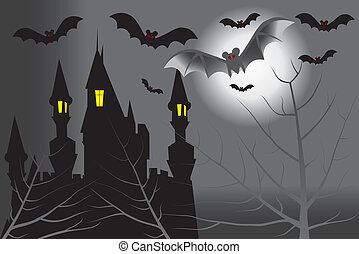 Dark castle with bats in the full moon