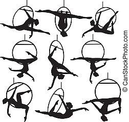 aerial hoop acrobat - Set of aerial hoop acrobat woman...
