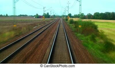 Manejar, alto, velocidad, tren