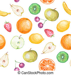 seamless fruit background watercolor