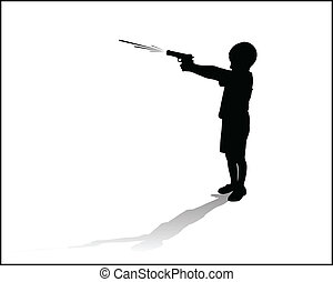 boy sprayed with a water gun vector illustration silhouette