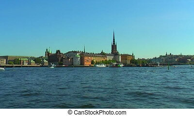 Old Town in Stockholm, Sweden - Zoom panorama of the Old...