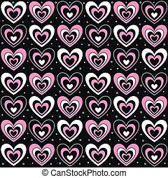 hearts on a black background