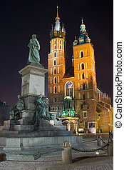 Night city square in Krakow, Poland