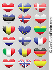 european flags heart