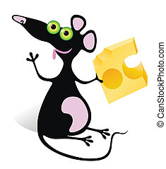 mouse with piece of cheese