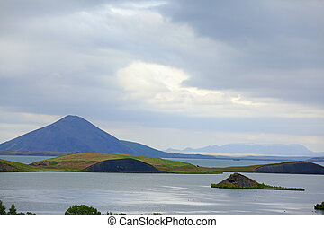 Myvatn. - Iceland landscape at summer cloudy day. Mountain...