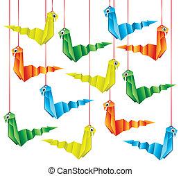 origami, węże