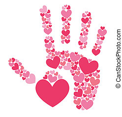Handprint of hearts