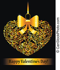 Valentines day card with ornamental heart