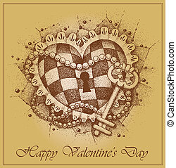 Valentine's Day card. Heart with ke
