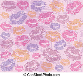 background with the imprints of lip