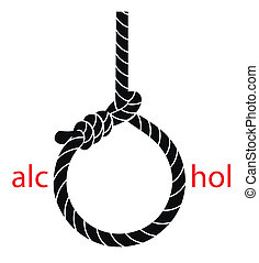 Hangmans noose with protest against alcohol