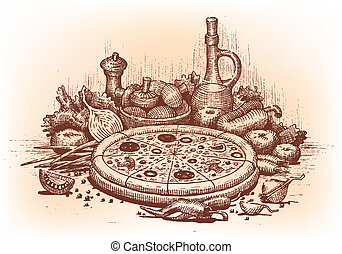 Pizza illustration drawn by hand