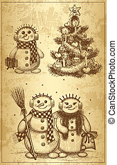 Christmas tree and snowman drawn by hand