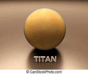 Saturn Moon Titan - A rendered presentation of the Saturn...