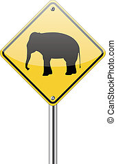 Elephant warning traffic sign isolated on a white background