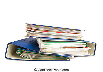 Stack of folders Pile with old documents and bills Isolated...