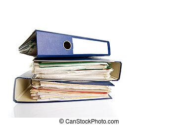 Stack of folders. Pile with old documents and bills....