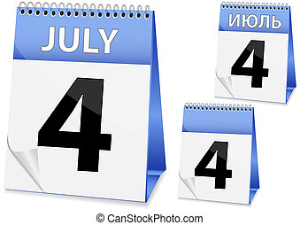 icon calendar for July 4 - icon in the form of a calendar...