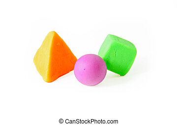Cube, sphere and pyramid , plasticine