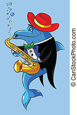 The dolphin plays a saxophone - The lovely dolphin in a hat...