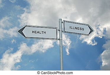 Road sign to health and illnesss