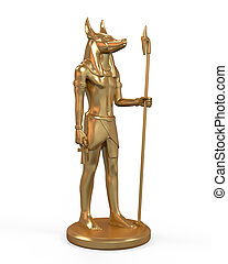 Egyptian Anubis Statue isolated on white background. 3d...