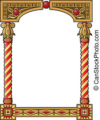 Traditional column frame - Traditional wood carved frame...