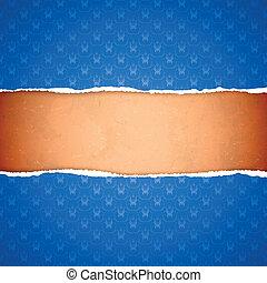 Torn blue ornamental wallpaper