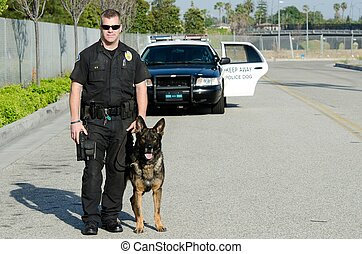 Police Dog - A K9 police officer with his dog