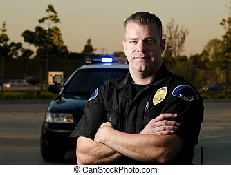 patrol cop - a serious looking police officer with his...