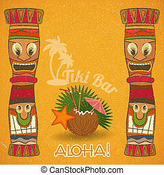 Vintage Hawaiian Tiki bar - cocktail and Tiki totem - vector...