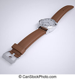 Mechanical wristwatch with a leather strap