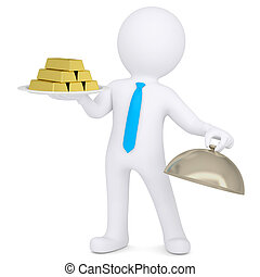 3d white man keeps gold bullion - 3d white man keeps on a...