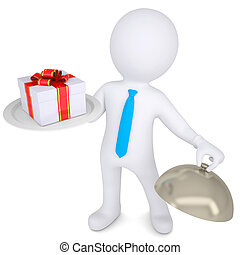 3d man holding a gift box on platter - 3d man holding a gift...